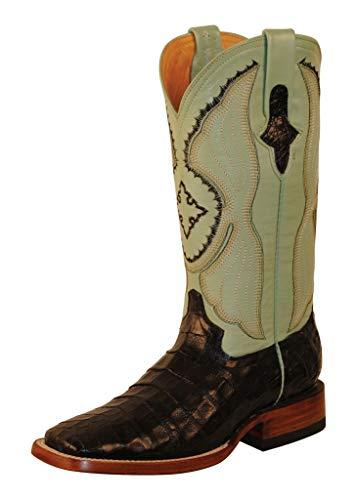 Ferrini Ladies Belly Caiman Croc Sq Toe 7 Blk ()