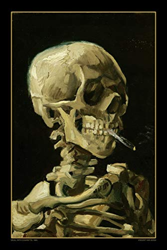 Skull with Cigarette - 1885 by Vincent Van Gogh - Art Poster 24in x 36in (Cigarettes Poster)