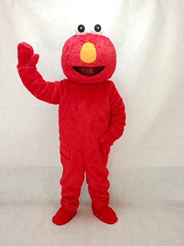 rushopn Long Fur Sesame Street Elmo Mascot Costume Cartoon Party Carnival Halloween Christmas]()