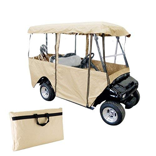 Popsport 4 Passenger Golf Cart Cover Driving Enclosure Straps Golf Cart Quick Fit Cover Clear PVC Window Golf Cart Cover for EZ GO and Club Car (Golf Cart Cover)
