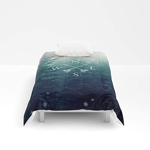 Society6 Comforter, Size Twin: 68'' x 88'', Arrow Compass in The Winter Woods by 4thave by Society6 (Image #1)