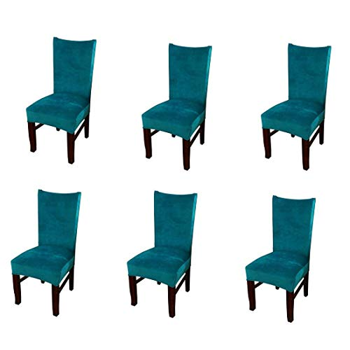 Pinji 6Pcs Stretch Chair Cover Thicken Removable Short Dining Room Protector Seat Slipcover Peacock Blue (Buy Loveseat Online)