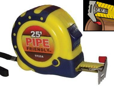 J-Hook Tape Measure (Great for Pipes, Conduit, Panels, Siding, Sheet Metal)