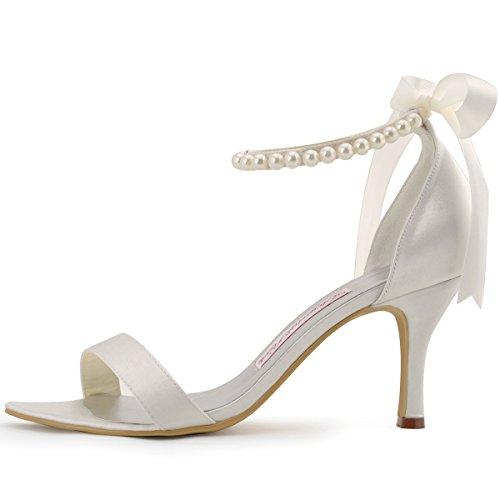 ElegantPark EP11053 Mujer Open Toe El Tacón Alto Sandalias Cintas Tie Perlas Satén Novia Fiesta Zapatos de Boda Ivoire