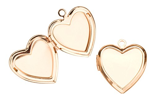Plain Heart Locket Pendant Gold Finished Fits Three 17x17mm Photos 26x23mm Sold Per Pack For 2 (Three Locket Photo)