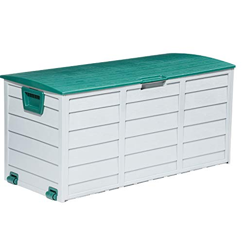 Tiptiper Outdoor Storage Box, 79 Gallon Waterproof Deck Box with Lockable Lid, Patio Storage Box Waterproof Perfect for Outdoor Cushions, Swimming Pool Supplies, Gardening Tools (Green)