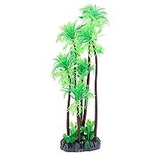 uxcell® Plastic Aquarium Fishbowl Artificial Coconut Tree Plant Decor 28cm Height Green