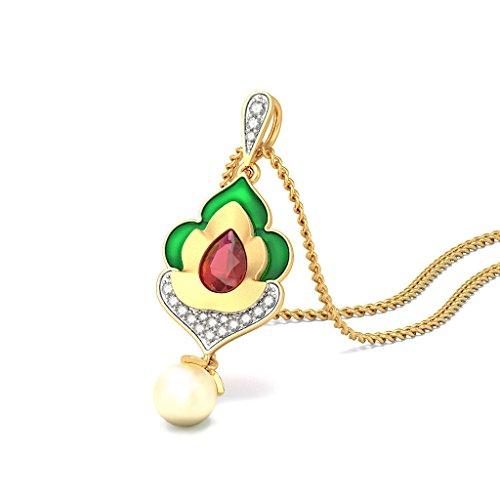 18K Or jaune 0,15CT TW Round-cut-diamond (IJ | SI) et rubis et blanc perle Pendentif