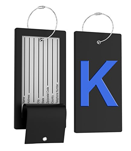 Luggage Tag Initial Bag Tag - Fully Bendable Tag w/Stainless Steel Loop ()