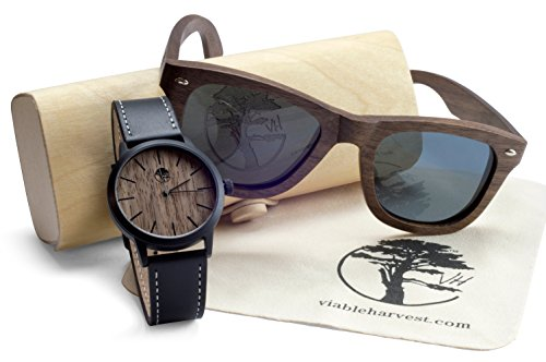 Viable Harvest Men's Wood Walnut Watch with Matching Real Wooden Wayfarer Sunglasses and Gift - Sunglasses Watches