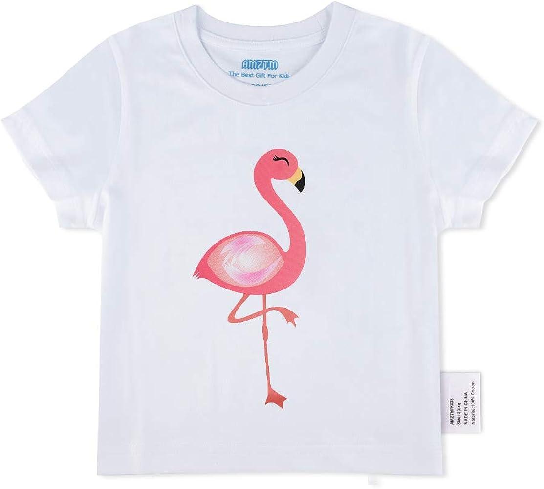 AMZTM Camiseta de Manga Corta con Flamenca - Baby Bimba Niñas Blanca Tops Blanco Cuello Redondo de 100% Algodón Camiseta Blusas: Amazon.es: Ropa y accesorios
