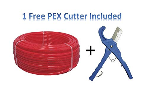 PEX Tubing PEX For Flow 3/4 inch by 100 feet Oxygen Barrier, Red with Free PEX Cutter