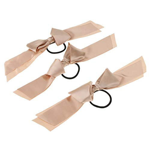 (3Pieces Womens Girls Stylish Satin Ribbon Bow Hair Band Rope Ponytail Holder (Color - Champagne))