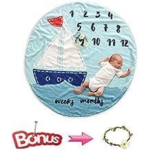 """[Patrocinado] CASOFU - Manta de franela para bebé, para niña, para bebé, diseño de círculos, para regalo para recién nacido, 35"""" de diámetro"""