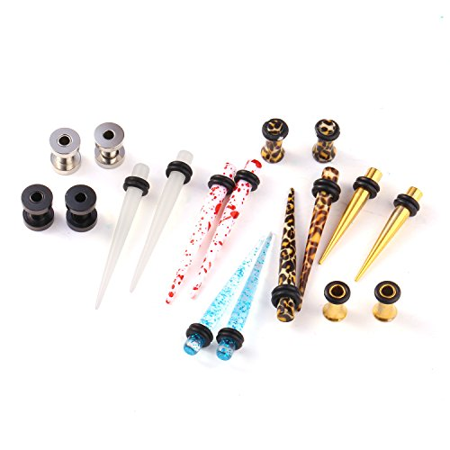 Ear Stretcher - BodyJ4You 18PCS Taper Tunnel Plugs Randomly Assorted Ear Piercing Gauges Kit 6G (4mm) - 9 Pairs