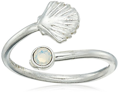 (Alex and Ani Ring Wrap, Shell, Sterling Silver Stackable Ring, Size 5-7)
