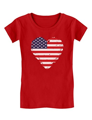 4 Girls Fitted T-shirt (TeeStars - Love USA 4th Of July American Heart Flag Girls' Fitted Kids T-Shirt M (7/8) Red)
