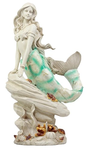 Atlantic Collectibles Ocean Capiz Ariel Mermaid Sitting On Sea Rock Figurine 115quot H Aquamarine Goddess Sunbathing by Beach Shore Decorative Statue