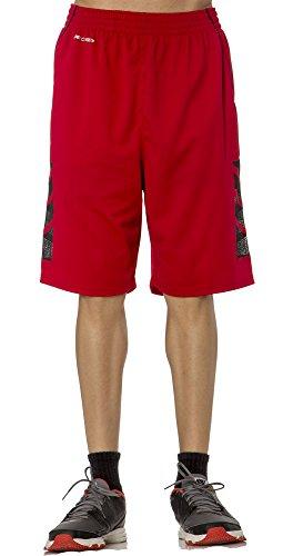 (BU3001Y) AeroSkin Dry Big Boys Basketball Shorts with Laser Cut Inserts in Red / Black Size: S