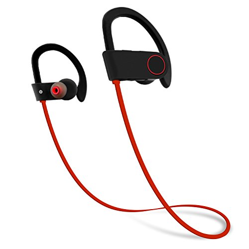 Firstop Bluetooth Headphones, IPX7 Waterproof Wireless Earphones, Noise Cancelling Earbuds Secure Fit for Sport, Gym with Built-in Mic, HD Sound with Bass,Long Battery Life for iPhone Android(Red)