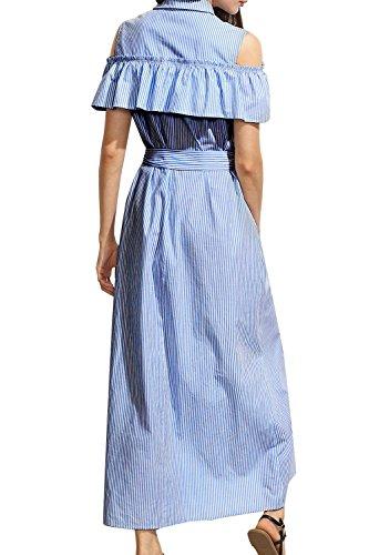 Las Rayas De La Camisa Larga Hendidura Hombro Vestido De Fiesta Blue