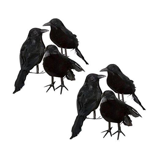 MonkeyJack 6Pieces Creative Black Feathered Foam Crows Birds Ravens Halloween Decor (Raven Prop)