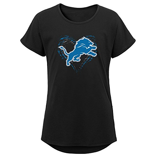 Outerstuff NFL NFL Detroit Lions Youth Girls Sonic Heart Short Sleeve Dolman Tee Black, Youth Medium(10-12) ()