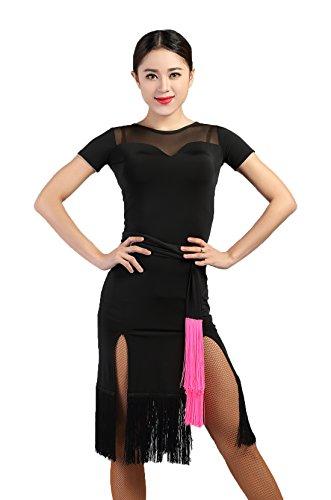 G3012 Latin Ballroom Dance Professional Yarn Connected Sides Split Tassels Swing Dress