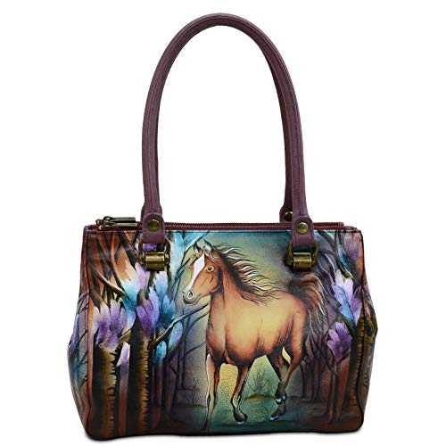 Anuschka Women's Genuine Leather Triple Compartment Medium Tote | Hand Painted Original Artwork | Free Spirit