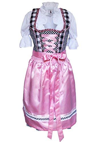 Alpenmärchen, 3tlg. Dirndl-Set - Trachtenkleid, Bluse, Schürze, Gr.54, schwarz-rosa, ALM3065