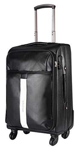 3c193b66cb49 Men PU Leather Spinner Black Luggage - 24 Inch Suitcase by Classic