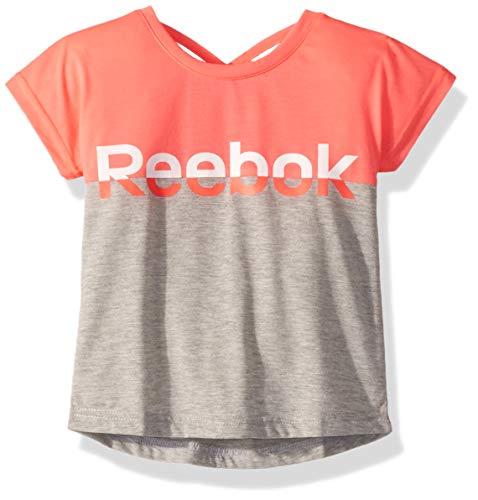 Reebok Girls' Little Crossback Color Blocked T-Shirt, Medium Heather Grey, 5 ()