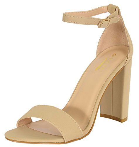 (Glaze Women\'s Chunky Heel Ankle Strap Sandals - Open Toe Strappy Heels, Size 6, Nude')
