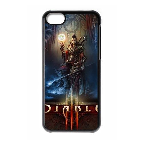 H5Q37 Diablo III X3Q2AL cas d'coque iPhone de téléphone cellulaire 5c couvercle coque noire DK3YVG7BP