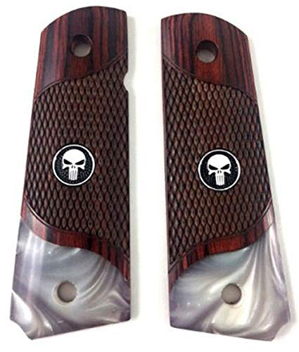 (Premium Gun Grips 1911 Colt Full Size Checkered Rosewood Pearl Accent and Black Punisher Medallion)