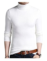 Jueshanzj Mens Pullover Slim Fit Knitwear Warm Turtleneck Sweaters