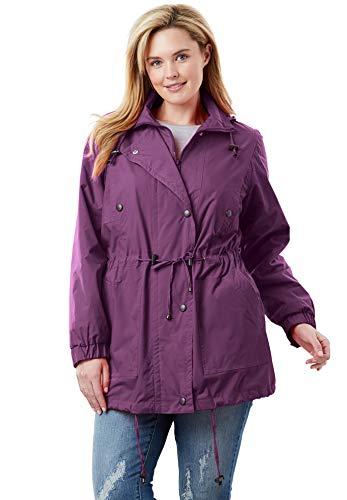 Fleece Plus Size Coat - Woman Within Women's Plus Size Fleece-Lined Taslon Anorak - Plum Purple, L