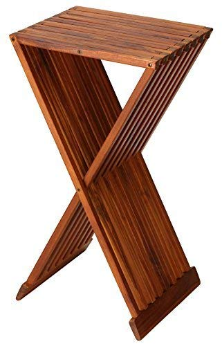 "Bare Decor Taj Folding Plant Stand Pedestal Table in Solid Teak Wood, 28"" High"