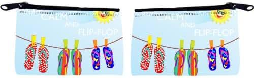 Rikki Knight Keep Calm and Flip-Flop Design Scuba Foam Coin Purse