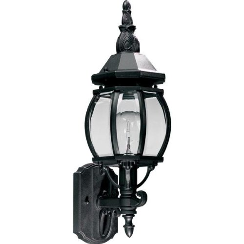 Quorum International 7989-1-15 Wall Lanterns with Beveled Clear Glass Shades, Black ()