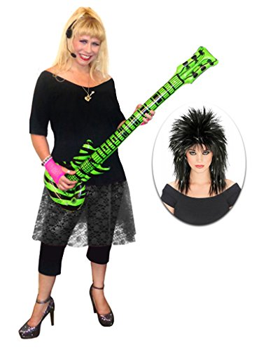 Rocker Chick Black Lace Plus Size Supersize Halloween Costume Deluxe Black Wig Kit ()
