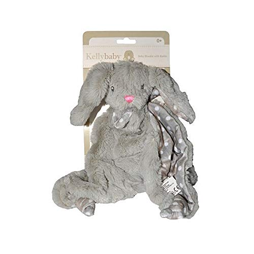 Gray Bunny Rabbit Plush Security Blanket with Rattle and Polka Dot ()