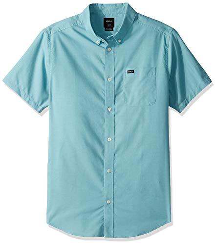 - RVCA Men's Thatll DO Stretch Short Sleeve Woven Button UP Shirt, nile Blue, XXL