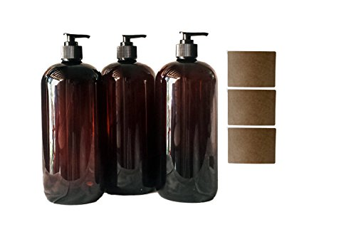 32 oz Amber Plastic PET Plastic Bottle with Black Hand Lotion Pump and Kraft Labels (3)