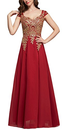 Butmoon Women's Cap Sleeve Chiffon Long Prom Evening Dress