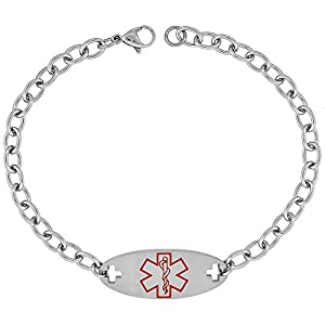 Surgical Steel Medical Alert Bracelet for Type 2 Diabetic ID 9/16 inch wide, 9 inch long