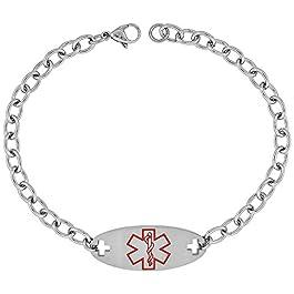 Surgical Steel Medical Alert Bracelet for ELIQUIS ID 9/16 inch Wide, 9 inch Long