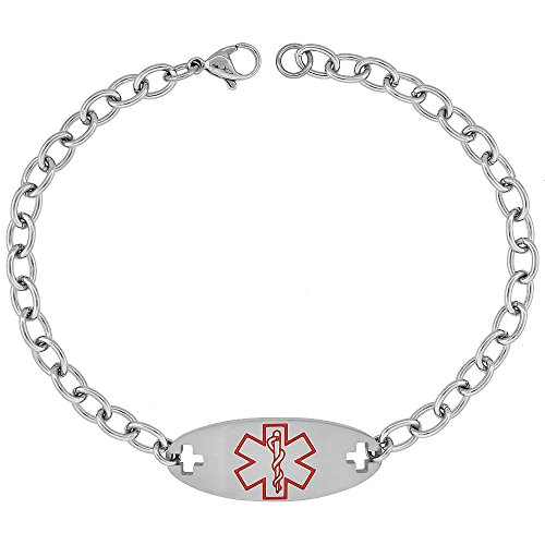 Surgical Steel Medical Alert Bracelet for BLOOD THINNER ID 9/16 inch wide, 9 inch long from Sabrina Silver