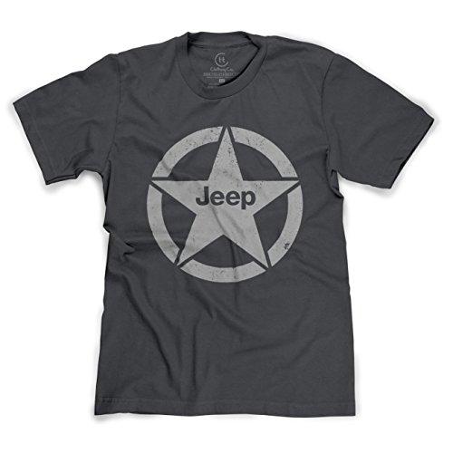 Jeep Shield Star Emblem Distressed 4x4 T-Shirt - (Heather Charcoal) XL ()