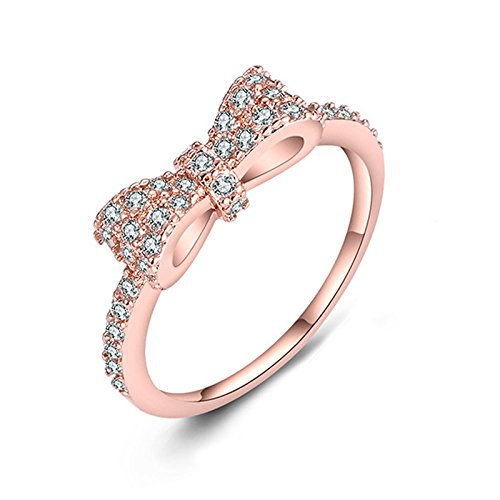 Pearl Rose Ring (Eamaott Rose Gold Plated Bow Knot Rhinestones Alloy Ring Fashion Design Engagement Wedding Rings for Girls Women Size 6)